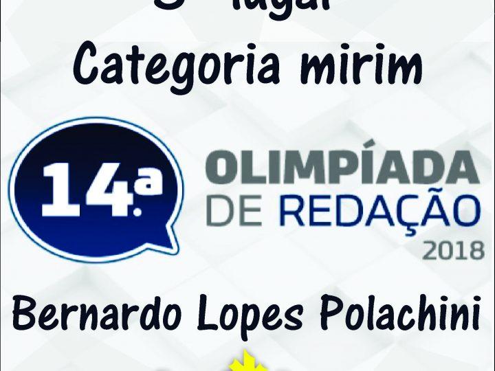 14ª Olimpíada de Redação 2018 – 3º lugar categoria mirim – Bernardo Lopes Polachini